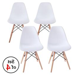 VECELO 1000048-4 Modern Mod Side Natural Wood Legs Eiffel Di