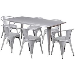 Silver Metal Indoor Table Set ET-CT005-6-70-SIL-GG