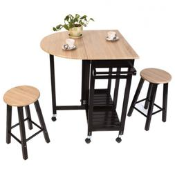 Small Kitchen Dining Table and Chairs Set Folding Island Tro