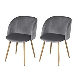 Ihouse Set of 2 Soft Velvet Cushion Seat Dining Chairs With