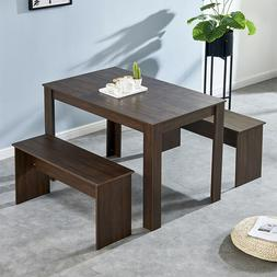 Solid Dinging Set with 2 Bench Dining Table Chair Set Home K