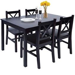 Merax Solid Wood Dining Table with 4 Chairs, Kitchen Dining