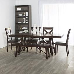 WE Furniture 6 Piece Solid Wood Trestle Style Dining Set - E