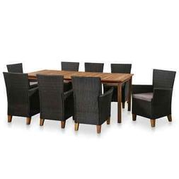 vidaXL Solid Wooden Outdoor Dining Set Poly Rattan Furniture