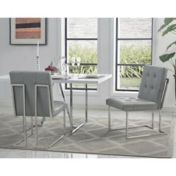 Square Back Armless Upholstered Dining Chair Set of 2 PU Lea