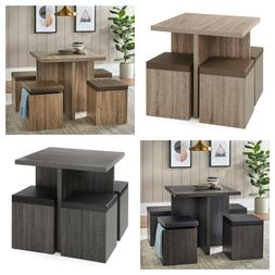 SQUARE DINING SET 5-Piece Geometric Cube Chairs with Storage