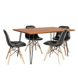 Pemberly Row Square 5 Piece Dining Set with Eames Chairs in