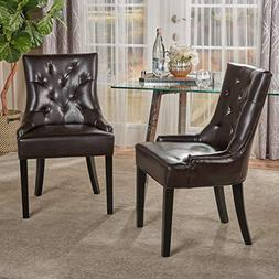 Great Deal Furniture Stacy Leather Dining Accent Chairs , Br