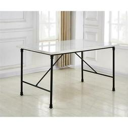 Steve Silver Claire White Marble Top Rectangular Dining Tabl