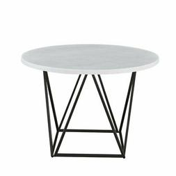 Steve Silver Ramona White Marble Top Round Metal Dining Tabl