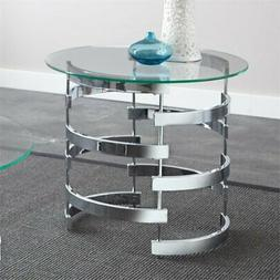 Steve Silver Tayside Round Glass Top End Table in Chrome