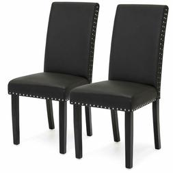 Studded Faux Leather Parsons Dining Chairs with Classy Nail
