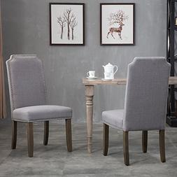 Merax Set of 2 Stylish Upholstered Fabric Dining Chairs with