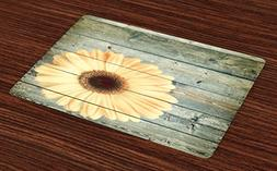 Sunflower Place Mats Set of 4 by Ambesonne, Rustic Wooden Pl