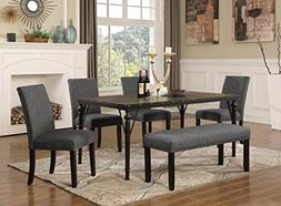 Roundhill Furniture T163-C162GY-C162GY-CB162GY Biony 6-Piece