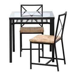 Ikea Table and 2 Chairs, Black, Glass 426.2382.2230