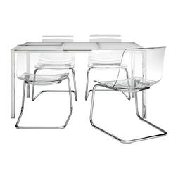IKEA Table and 4 chairs, glass white, clear 42020.1185.1834
