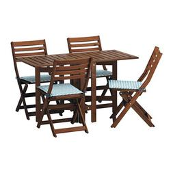 IKEA Table and 4 Folding Chairs, Outdoor, Brown Stained, Nä