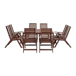 Ikea Table+ and 8 reclining chairs, outdoor brown stained 82