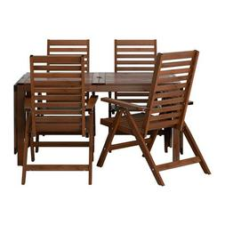 IKEA Table + 4 reclining chairs, outdoor, brown stained 1220