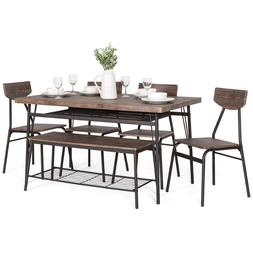 Table set Chairs Bench Dining Room Family Shelf Wood Brown S