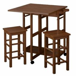 Teak Wooden Kitchen Breakfast Cart Set Dining Table Stools R