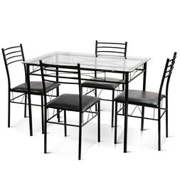 Tempered Glass Dining Room Set 5 PCS 4 Upholstered Chairs Ne