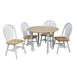 TMS 5 Piece Drop Leaf Dining Set, White/Natural
