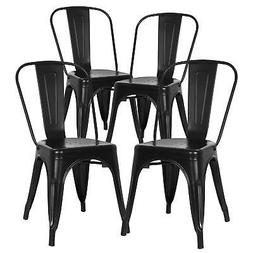 POLY & BARK EM-112-BLK-X4 Trattoria Side Chair in Black ,
