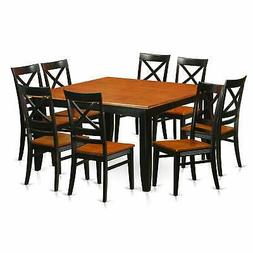 Traditional Black Rubberwood 9-piece Dining Set with Parfait