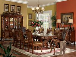 Traditional Brown Finish Dining Room Set 9 pieces Rectangula
