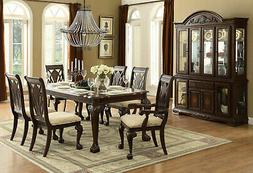 Traditional Cherry Brown Rectangular Dining Room Table & Cha