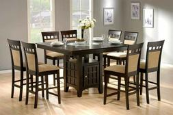 Transitional 9-Piece Counter Height Dining Set, Storage Cabi