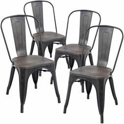 Poly and Bark Trattoria Side Chair with Elm Wood Seat in Bro