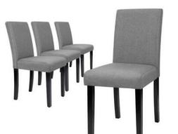 Tufted Upholstered Dining Table Chair Gray Set of 4 Modern S