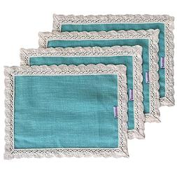 Nobildonna Turquoise 10x13 Inch Lace Placemats for dining ta