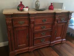 TWO Hickory White Mahogany Marble Top Sideboards/ Buffets /