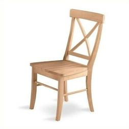 Unfinished X-Back Chair w Solid Wood Seat - Set of 2