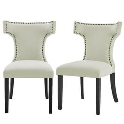 Upholstered Fabric With Nailhead Trim Padded Dining Chairs W