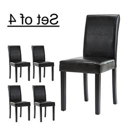 LSSBOUGHT Set of 4 Urban Style Leatherette Dining Chairs Wit