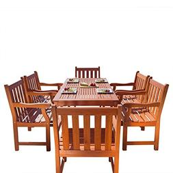 VIFAH V98SET26 Outdoor Seven-Piece Wood Dining Set with Engl