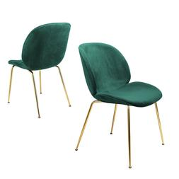 Velvet Dining Chairs Upholstered Green Side Chairs with Gold