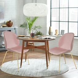 Set of 2 Pink Velvet Dining Chairs Upholstered Side Chairs w