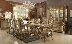 ACME Vendome Collection Formal Dining Set Gold Patina Finish