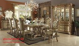 Acme Vendome Dining Table w/Double Pedestal in Gold Patina a