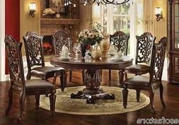 Vendome Modern Carved Round Table Dining Room Set 7pc Chair