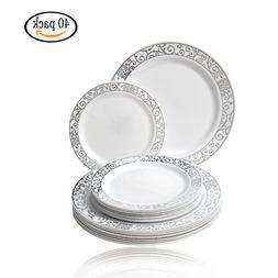 Party Disposable 40pc Dinnerware Set | 20 Dinner Plates | 20