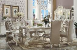ACME Versailles Collection Formal Dining Set White Bone tuft