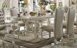 """Versailles Traditional Bone White 96"""" Dining Table With Scro"""