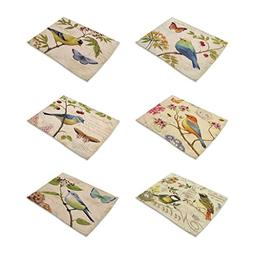 HACASO Set of 6 Vintage Style The Painting Bird Pattern Dini